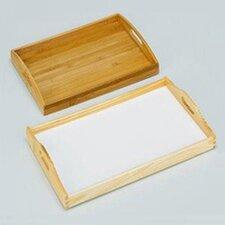 52  x 32cm Serviertablett mit weißer Platte aus Kiefernholz
