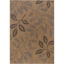 Patio Laurel Leaves Brown/Black Indoor/Outdoor Rug