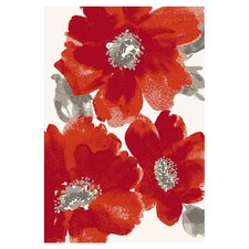 Infinity Ivory/Red Floral Area Rug