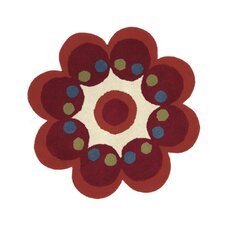 Fantasia Flower Red Kids Rug