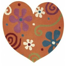Fantasia Heart Gold Kids Rug