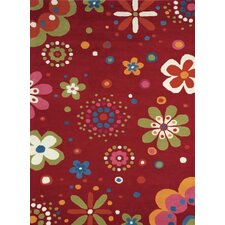 Fantasia Fan Girls Birght Red Kids Rug