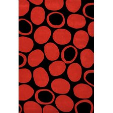 Festival Black/Deep Red Area Rug