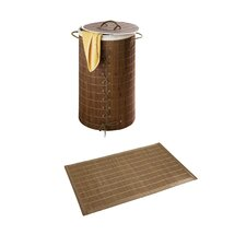 "2-tlg. Wäschetruhe & Badmatten Set ""Bamboo"" in Dunkelbraun"