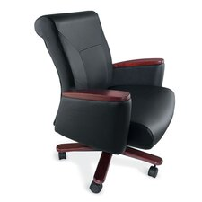 <strong>La-Z-Boy</strong> Accel Executive Mid-Back Leather Managerial Chair with Arms
