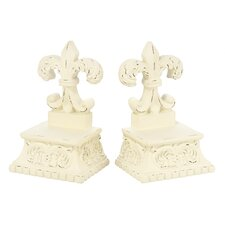 Fleur De Lis Pedestal Library Book Ends (Set of 2)