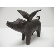 Winged Pig Head Up Figurine