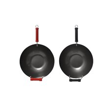 2 Piece 35cm Nonstick Wok Set