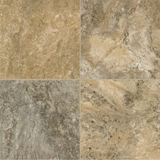 "Alterna Reserve Classico Travertine 16"" x 16"" Vinyl Tile in Cameo Brown/Gray"
