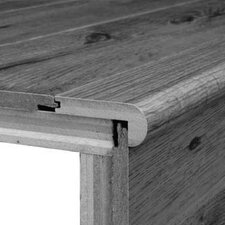 Laminate Overlap Step Micro-Bevel Trim with Track in Merbau Natural, Brazilian Cherry