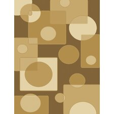 Dimensions Circles Brown Rug