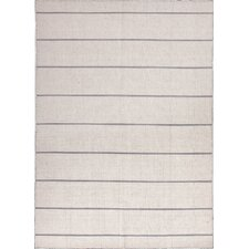 C. L. Dhurries Ivory/Gray Stripe Rug