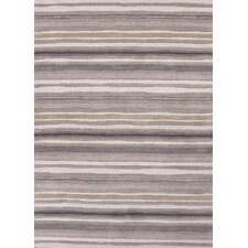 C. L. Hand-Tufted Gray/Ivory Stripe Area Rug