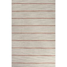 C. L. Dhurries Gray/Red Stripe Rug