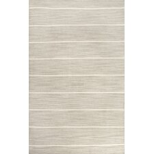 C. L. Dhurries Gray/Ivory Stripe Area Rug