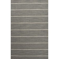 C. L. Dhurries Gray/Ivory Stripe Rug