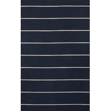 C. L. Dhurries Blue/Ivory Stripe Rug