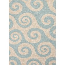 Coastal Blue/Ivory Geometric Indoor/Outdoor Rug