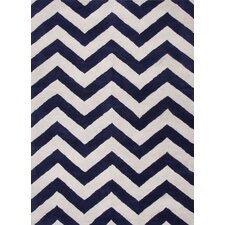 Traverse Deep Navy Geometric Area Rug