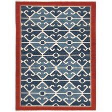 Anatolia Smoke Blue/Red Tribal Rug