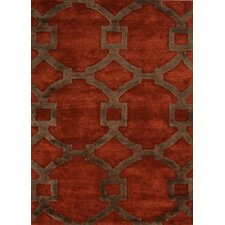 City Red/Brown Geometric Rug