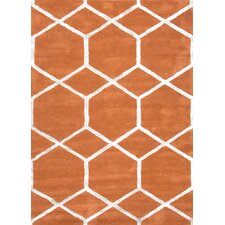 City Orange Geometric Rug