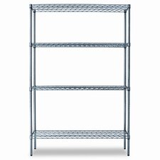 Industrial Wire Shelving Starter Kit, Four Shelves, 48w x 18d x 72h, Black