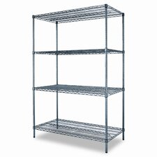 Industrial Wire Shelving Starter Kit, Four Shelves, 48w x 24d x 72h, Black