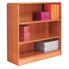Radius Corner Bookcase, Finished Back, Wood Veneer, 3-Shelf, 36x12x36, Med. Oak