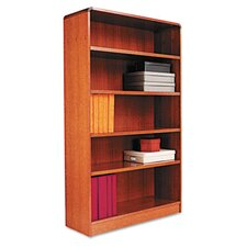 Radius Corner Bookcase, Finished Back, Wood Veneer, 5-Shelf, 36x12x60, Med. Oak