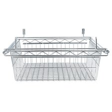 "24"" Sliding Wire Basket for Wire Shelving in Silver"