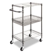 <strong>Alera®</strong> Wire Shelving Three-Tier Rolling Cart in Black Anthracite