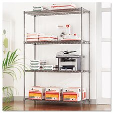 <strong>Alera®</strong> Complete Wire Shelving Unit with Casters in Black Anthracite