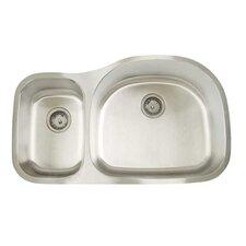 """Premium Series 35"""" x 20.75"""" Double Bowl Undermount Kitchen Sink"""