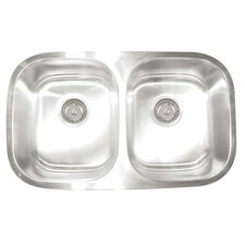 "Premium Series 30"" x 17.75"" x 9""/7"" Double Bowl Undermount Kitchen Sink"
