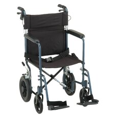"GO! Mobility Aluminum 20"" Ultra Lightweight Transport Bariatric Wheelchair with Hand Brake and Swing Away Footrest"