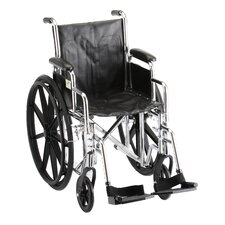 Steel Wheelchair with Detachable Desk Arms and Swing Away Footrests