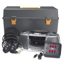 <strong>AmpliVox Sound Systems</strong> Personal CD, Cassette, AM and FM Six Station Listening Center