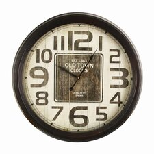 """24.4"""" Retro Round Distressed Wood Detail """"Old Town Clocks"""" Wall Hanging Clock"""
