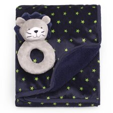 Basics Star Velour Sherpa Blanket and Rattle