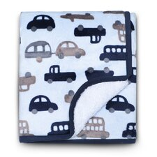 Basics Cars Velour Sherpa Blanket
