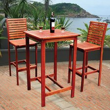 <strong>Vifah</strong> Dartmoor 3 Piece Bar Height Dining Set