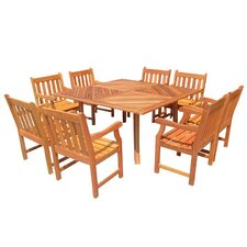 9 Piece Outdoor Teak Dining Set