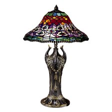 """Peacock Tail 27"""" H Table Lamp with Bowl Shade"""