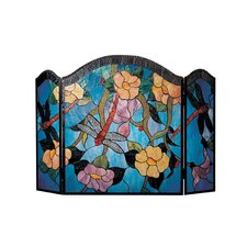 Dragonfly 3 Panel Glass Fireplace Screen
