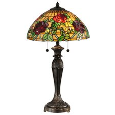 """Rosewood 28"""" Tiffany Table Lamp with Bowl Shade"""