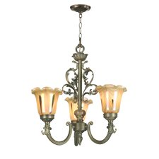 Columbus Tulip Three Candelabra Light Chandelier in Antique Brass