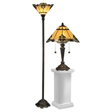 Brena Table Lamp and Floor Lamp Set with Empire Shade