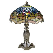 <strong>Dale Tiffany</strong> Dragonfly with Platform Base 2 Light Table Lamp