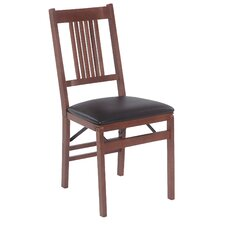 True Mission Wood Folding Chair with Vinyl Seat (Set of 2)